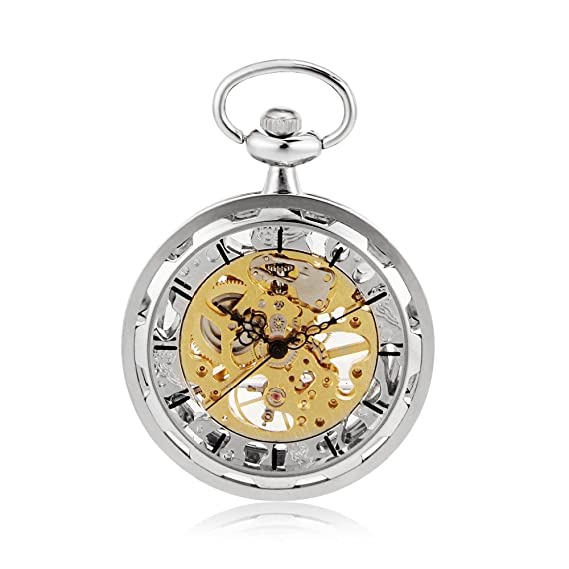 Open Face Silver Tone Skeleton Steampunk Hand Wind Mens Pocket Watch W/Chain Luxury Timepiece
