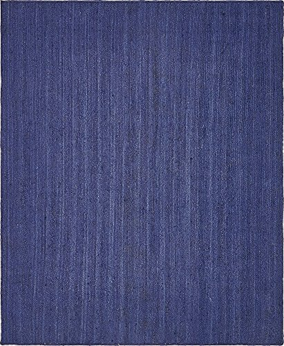 Unique Loom Braided Jute Collection Hand Woven Natural Fibers Navy Blue Area Rug (8' 0 x 10' 0) - Navy Solids Braided Rug