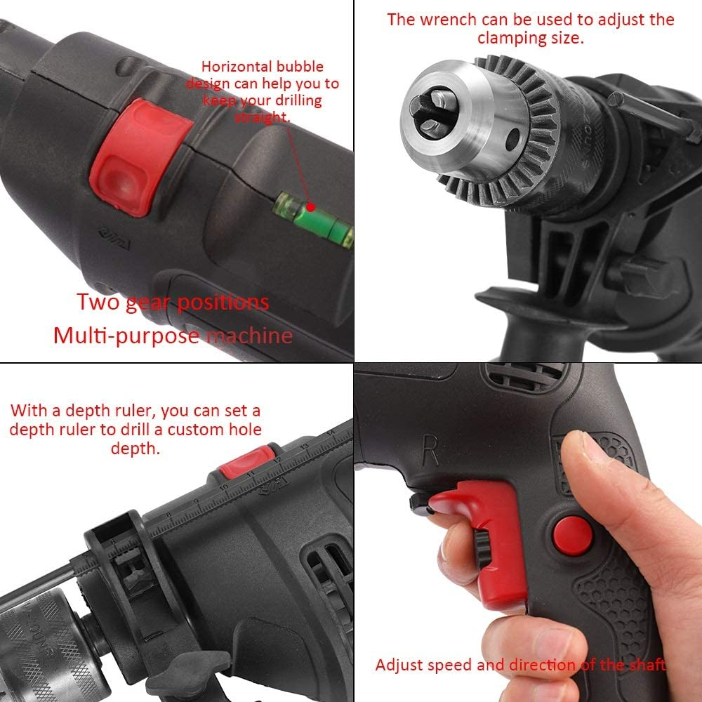 LHFSM Adjustable Speed Electric Drill Impact Drill High Power Electric Drill 220V Dual Use Negative Positive Rotation Tool