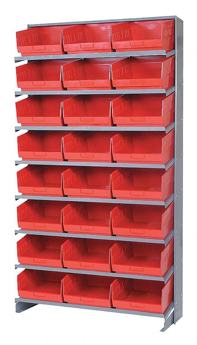 Steel Pick Rack with 24 Bins, 36''W x 12''D x 60''H, Load Capacity: 400 lb, Gray