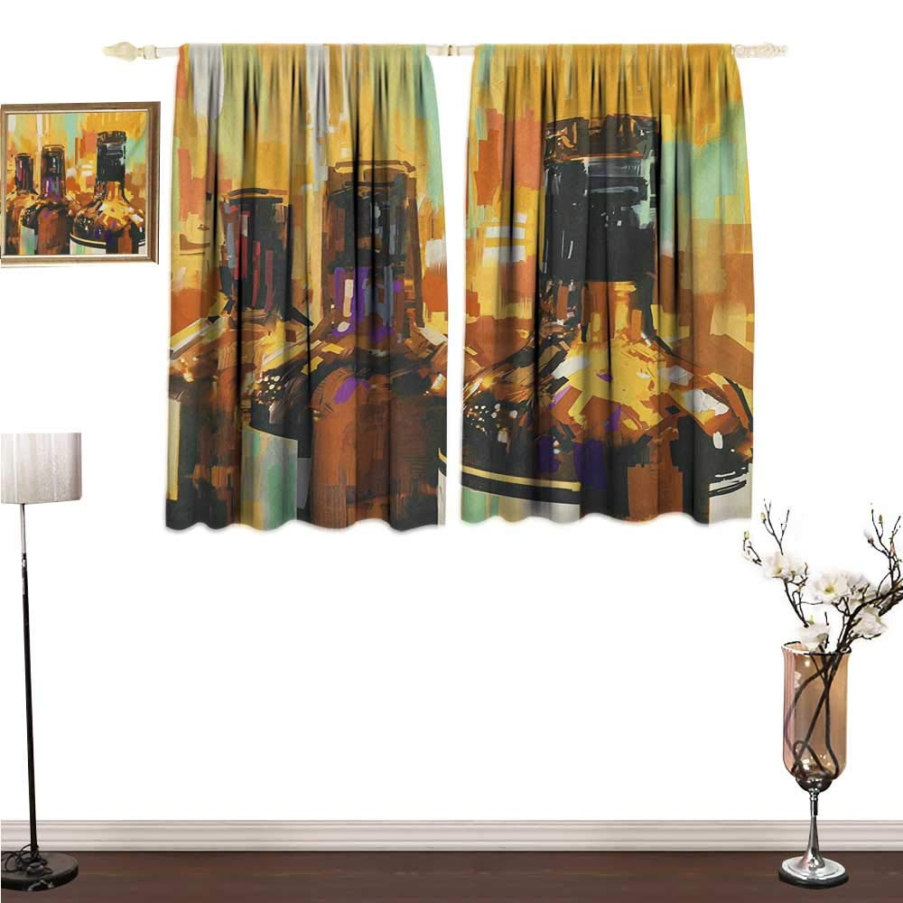 homehot Kitchen Curtains Wine,Colorful Painting Style Bottles of Wine with Vivid Bruststrokes Beverage Artwork Print,Multicolor Window Drapes for Bedroom W72 x G63