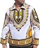 RaanPahMuang European Poets Collar Long Sleeve Shirt African Dashiki Plus Size, XXX-Large, White Amber Yellow