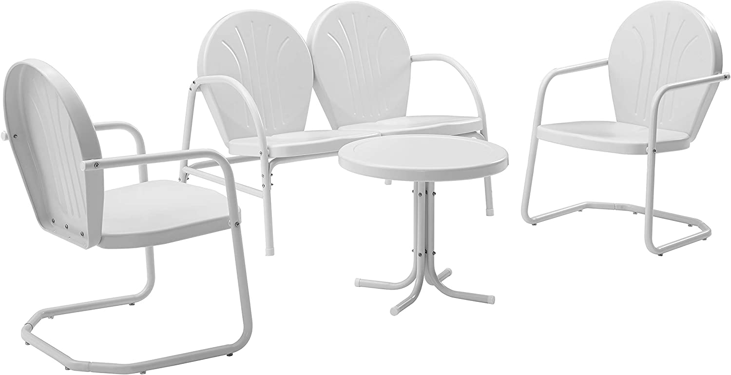 Crosley Furniture Griffith 4-Piece Metal Outdoor Conversation Set with Table, Loveseat, and 2 Chairs - White