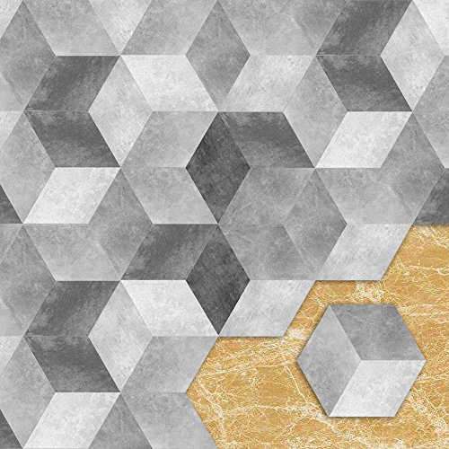 APSOONSELL Hexagon Limestone Floor Tile Stickers for Bathroom & Kitchen Backsplash, 9 inch, Pack of 10 ()