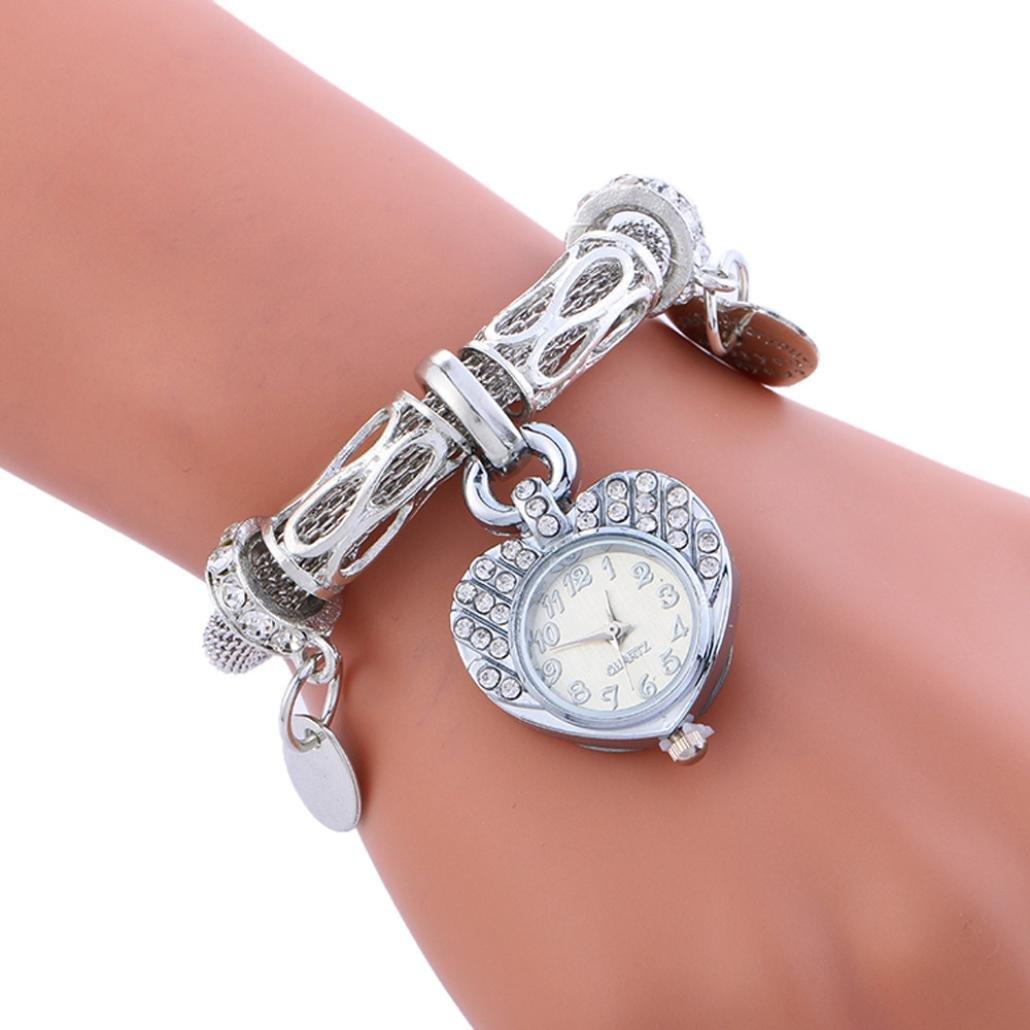 Hemlock Bracelet Watches, Women Girls Jewelry Rhinestone Pendant Wrist Watch (Silver)