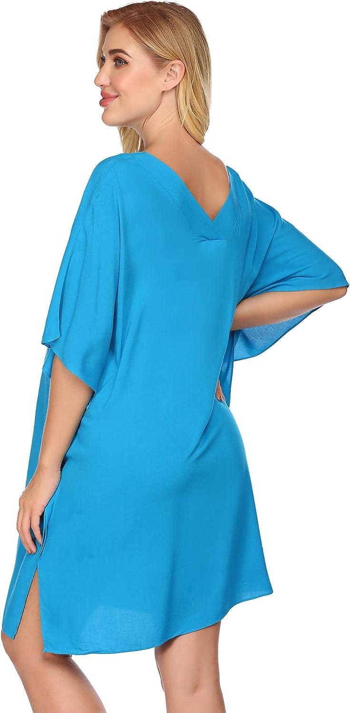 Ekouaer Womens Swimsuit Cover Ups Bathing Suit Coverups Bikini Beachwear Shirt Beach Dress S-XXL