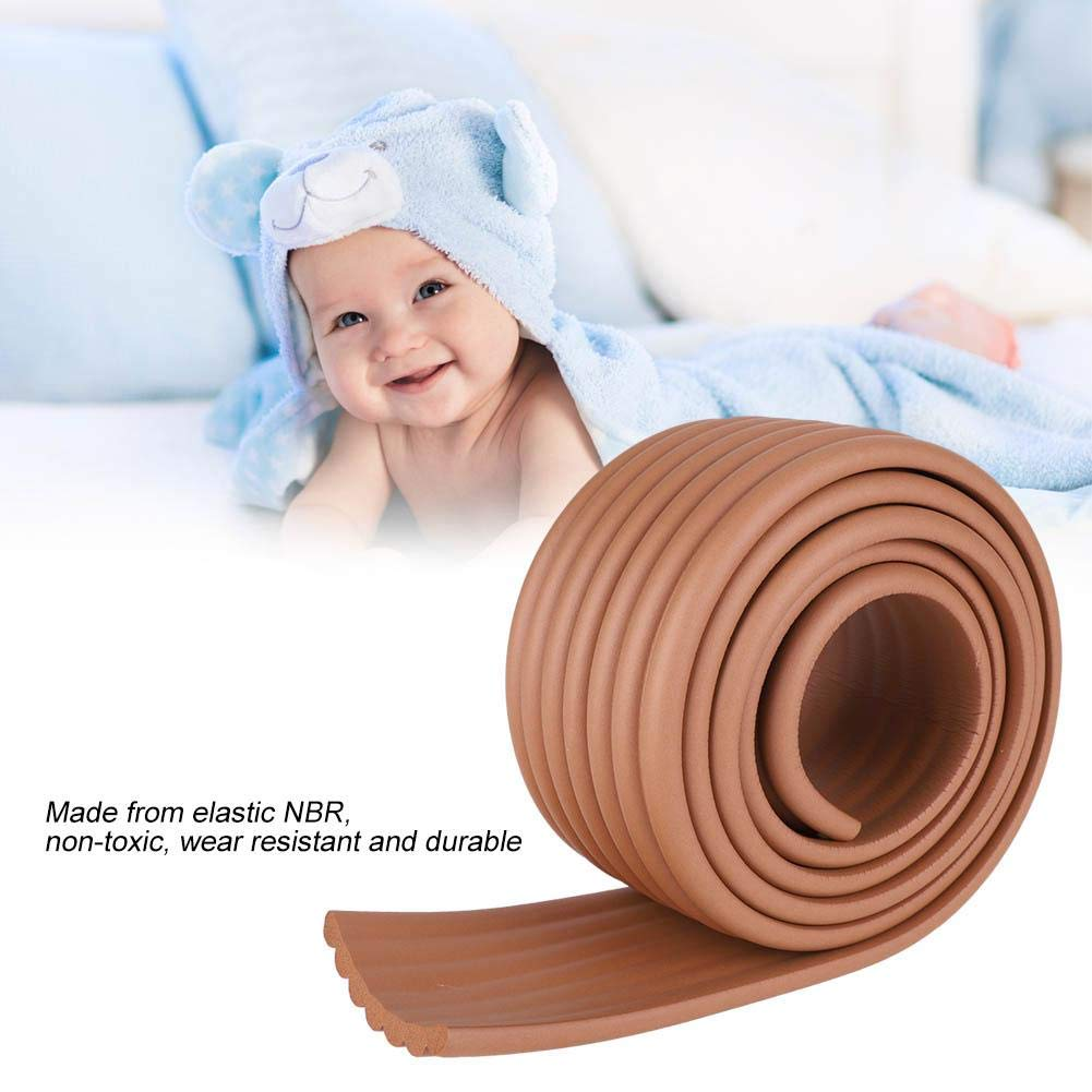 Bumper Strip Coffee 2M DIY Baby Table Edge Guard Protectors Kids Security Desk Fireplace Countertop Pre-Taped Corners Widen Strip Cushion for Room Decor