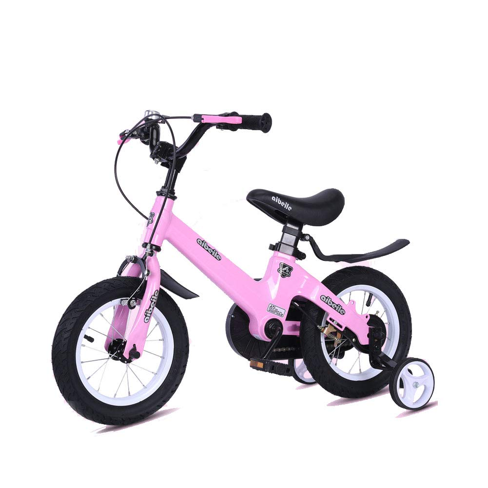 Pink 18IN Kids Bike Adjustable Height Mountain Bicycle Double Brake Boy Girl Safety Damping 2-10 Years Old