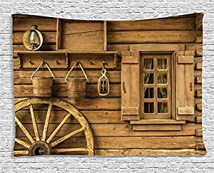 ambesonne western decor collection old wagon wheel and rustic wooden wild west. Black Bedroom Furniture Sets. Home Design Ideas
