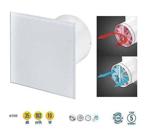 Badlüfter Lüfter Ventilator Deckenlüfter mit Glasfront Hygrostat Timer Ø100mm