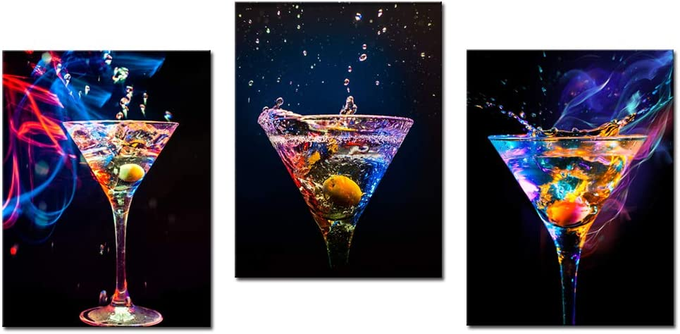 Biuteawal - 3 Piece Wall Art Colorful Sparkling Wine Pictures Painting on Canvas Wine Drinks Art Print for Party Decoration Modern Bar Pub Home Dining Room Wall Decor