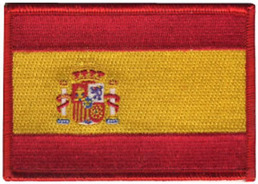 Bandera de España rojo frontera bordado insignia parche para coser o planchar 10 cm: Amazon.es: Hogar