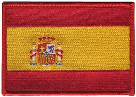 Bandera de España rojo frontera bordado insignia parche para coser o planchar 10 cm
