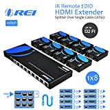 OREI 1x8 HDMI Extender Splitter Over Single Cable CAT6/7 1080P With IR Remote EDID Management - Up to 132 Ft - Loop Out - Low Latency