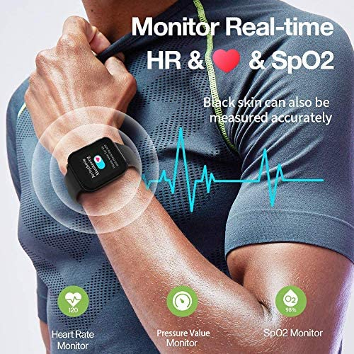MorePro 18 Sports Mode Smart Watch with Music Control, DIY Screen Fitness Tracker with Blood Oxygen Heart Rate Monitor, Sleep Tracker with Pedometer Step Calories Counter for Men Women 61UwWHKRC7L