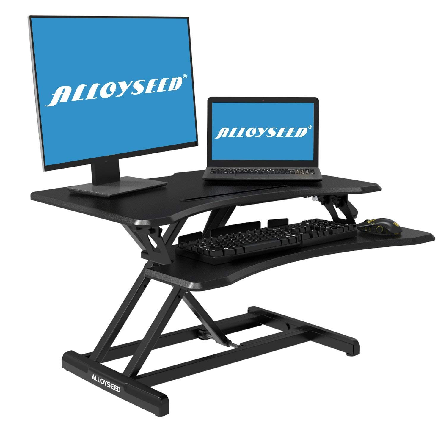 Height Adjustable Standing Desk, Alloyseed Stand Up Desk Converter Ergonomic Sit Stand Gas Spring Riser Workstation, with Quick Release Keyboard Tray (manumotive)