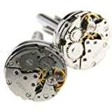 New Round Watch Movement Cufflinks Clockwork Gear Mens Vintage Wedding Gift