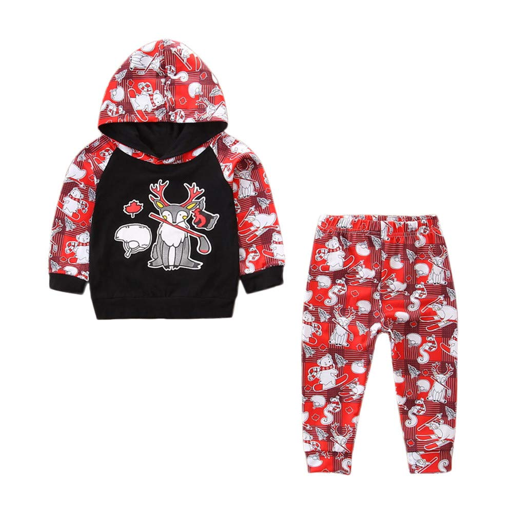 Toddler Baby Boys Girls Christmas Long Sleeve Animal Print Tops+Pants Outfit 2pcs Set Warm Winter Sweatshirt Newborn Gift