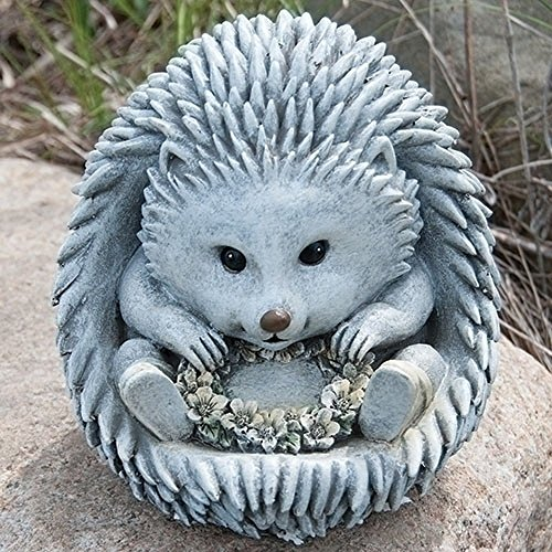 Hedgehog Flower Wreath in Rain Boots 7 x 8.5 inch Resin Stone Garden Statue Figurine