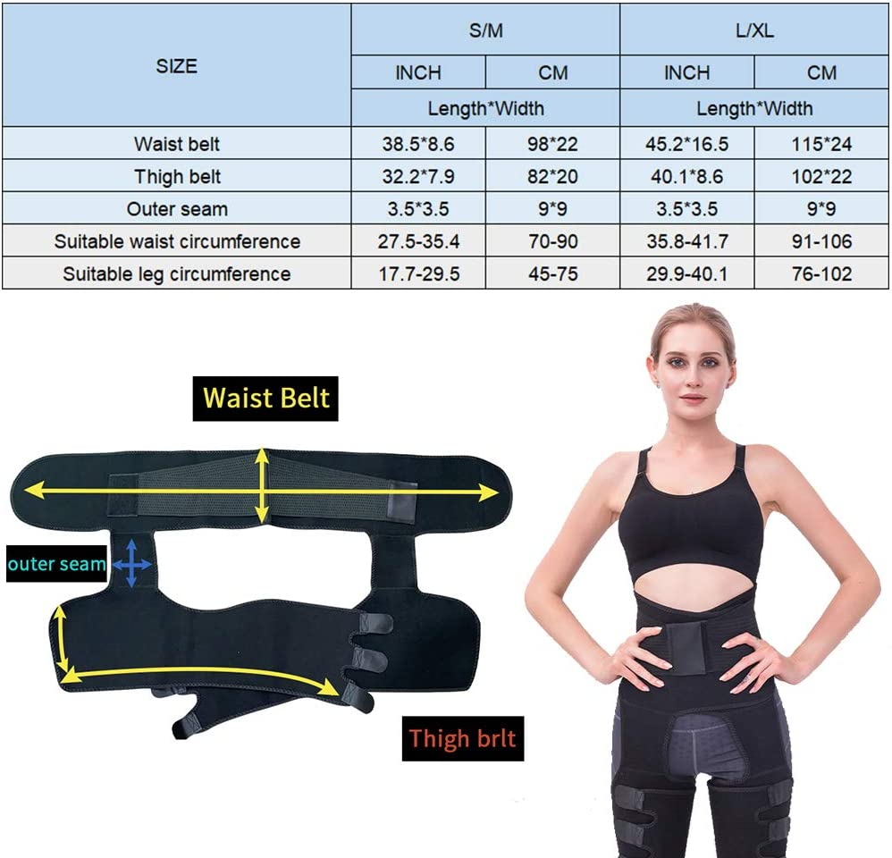 Waist Trainer for Women Workout,3 in 1 Waist Thigh Trimmer and Butt Lifter,Adjustable Elasticity Slimming Body Shaper Hip Enhancer Shapewear for Weight Loss