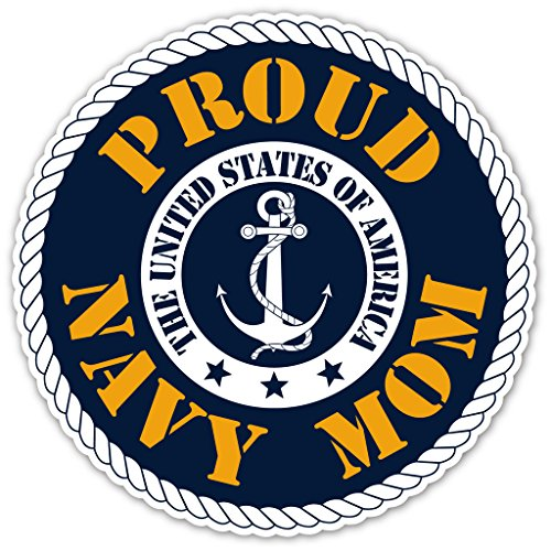 Proud Navy Mom - US Armed Forces Millitary Mom Bumper Sticker Decal 5x5 in