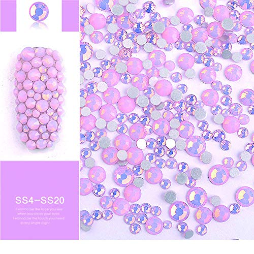 DAODER 4pack Sparkly Opal Rhinestones for Nails 3D Nail Art Rhinestones Kit Crystal Diamond Rhinestones and Charms Nail Decoration Flatback Gems Stones Pink White Blue Green Nail Jewels Crafts DIY