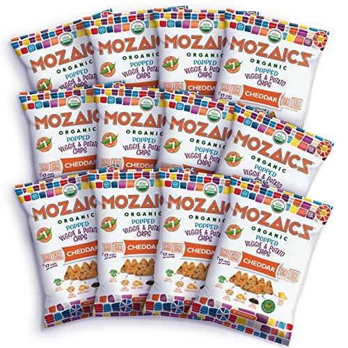 (Mozaics Organic Popped Veggie & Potato Chips- Healthy snack, under 100 calories, better than veggie straws or stix - gluten free - 0.75oz single serve bags (Cheddar,)