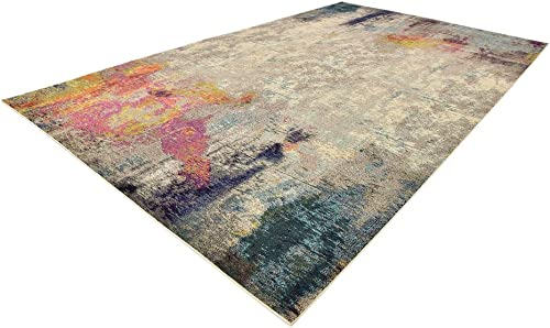 Cheap Unique Loom Chromatic Collection Modern Abstract Colorful Beige Area Rug 10' 6 x 16' 5 living room rug for sale