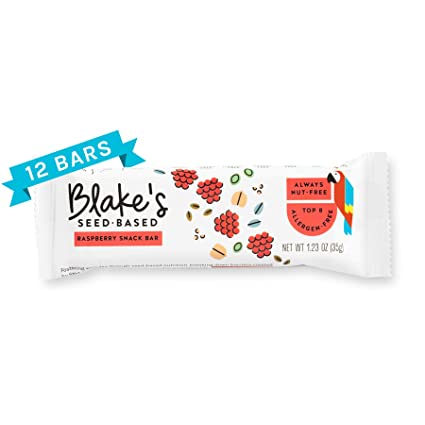 Blakes Seed Based Bar, Raspberry, Allergy Friendly, Nut Free, Gluten Free, Vegan, Dairy Free, Soy Free, Egg Free, Non GMO, 1.23oz (12 Bars)