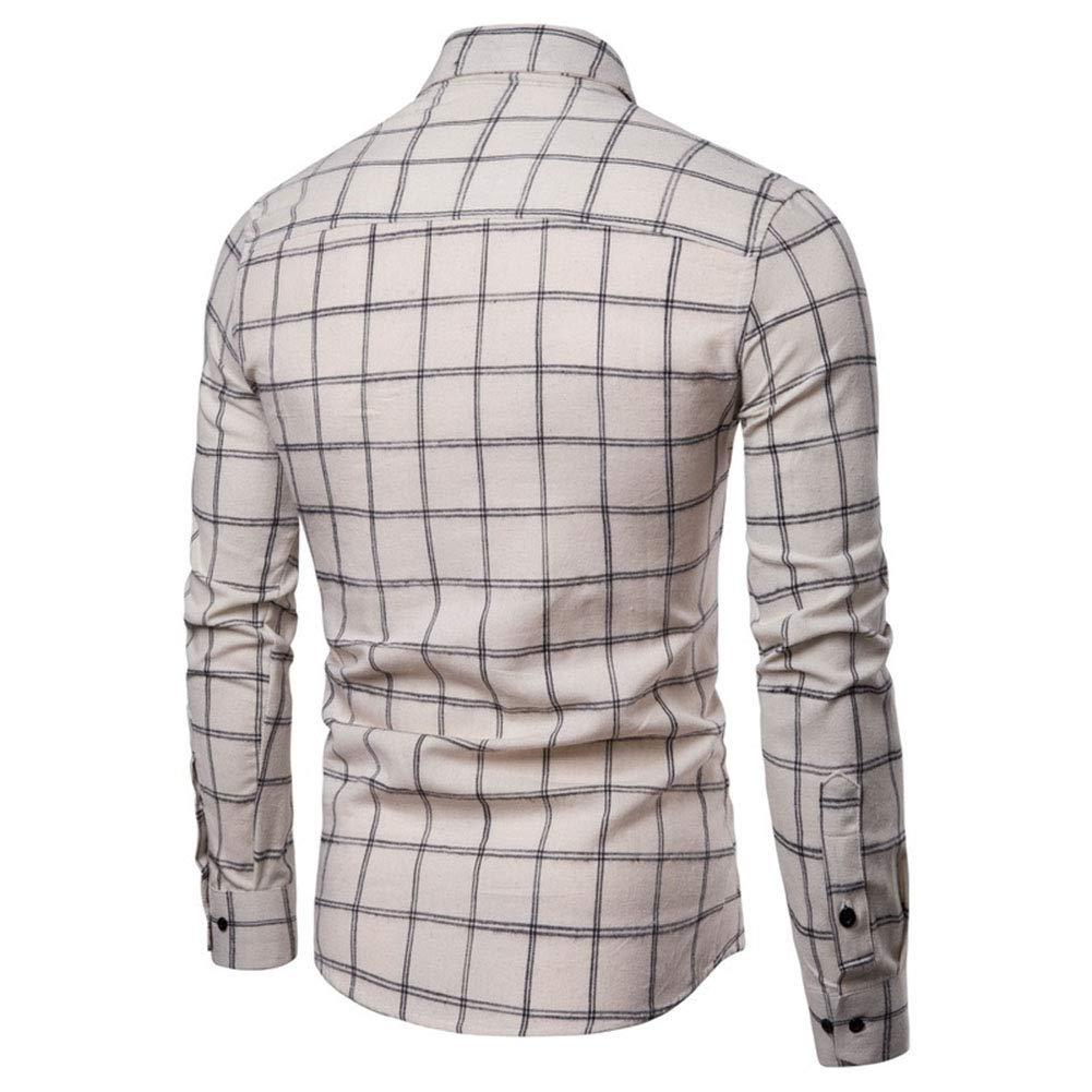 Casual Mens Slim Spring Button Shirt Machine Wash Plaid Mens Long-Sleeved Shirt