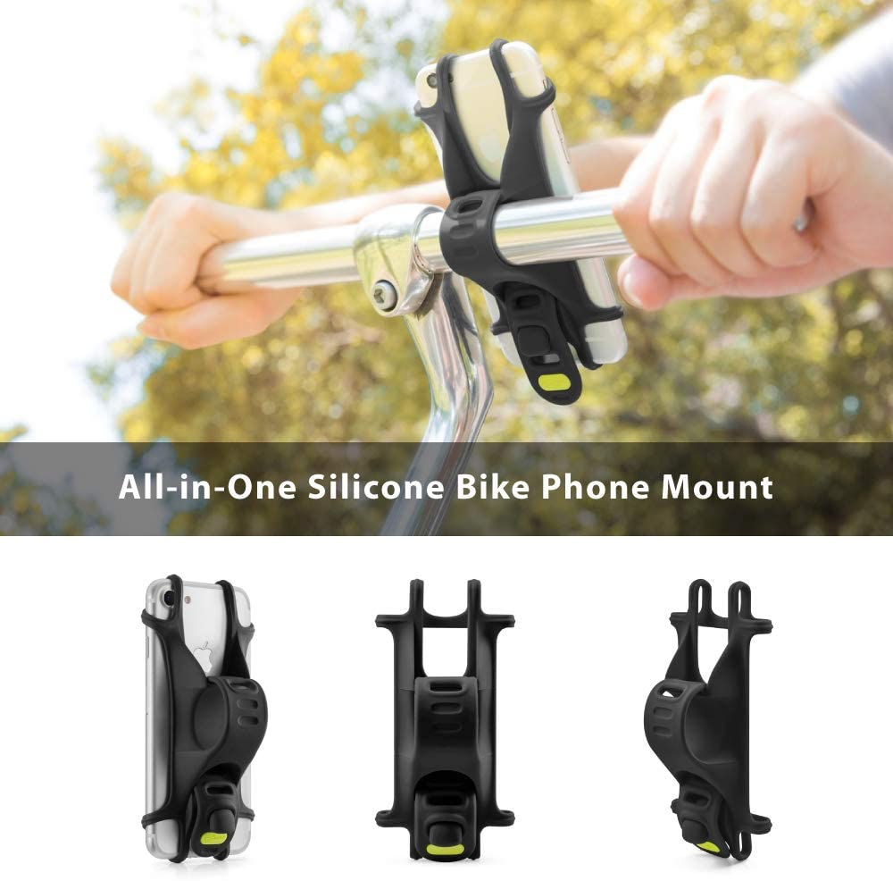 Bike Tie 2 Series Universal Bike Phone Mount Black Bicycle Handlebar Stroller Cell Phone Holder for iPhone 11 Pro Max XS XR 8 7 6 Plus Upgraded Compatibility with Face ID and Large Smartphones
