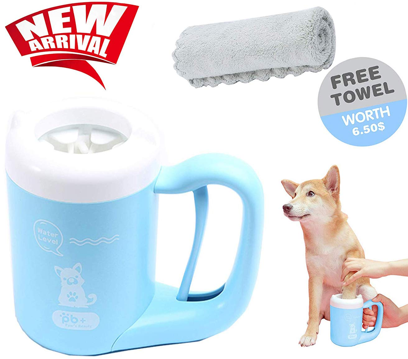 Portable Dog Paw Cleaner Cup - Wet Paw Cleaner Press Rotation, Free Towel