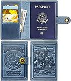 Villini - Leather US Passport ID Card Holder - Travel Wallet Case For Men Women (Light Blue)