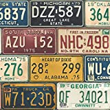 Wallpaper Fun Vintage Style United States USA License Plates