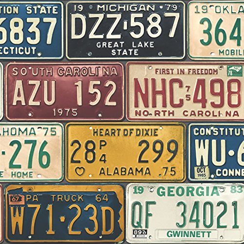 Wallpaper Fun Vintage Style United States USA License Plates by Seabrook