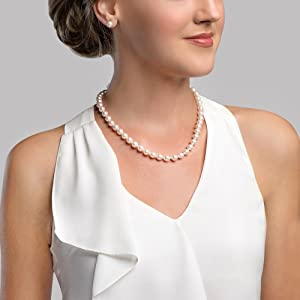 THE PEARL SOURCE 14K Gold 7.5-8.0mm Round Genuine White Double Japanese Akoya Saltwater Cultured Pearl Necklace in 18-19 Necklace Length for Women
