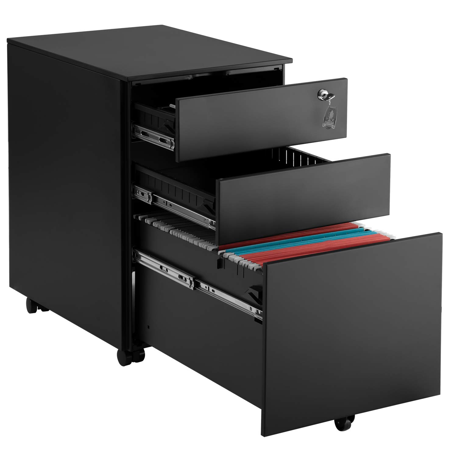 3 Drawer Mobile File Cabinet Black Heavy Duty Metal Cabinet with Drawers Lockable Office Filing Cabinet Under Desk Fully Assembled Except for 5 Casters... by P PURLOVE