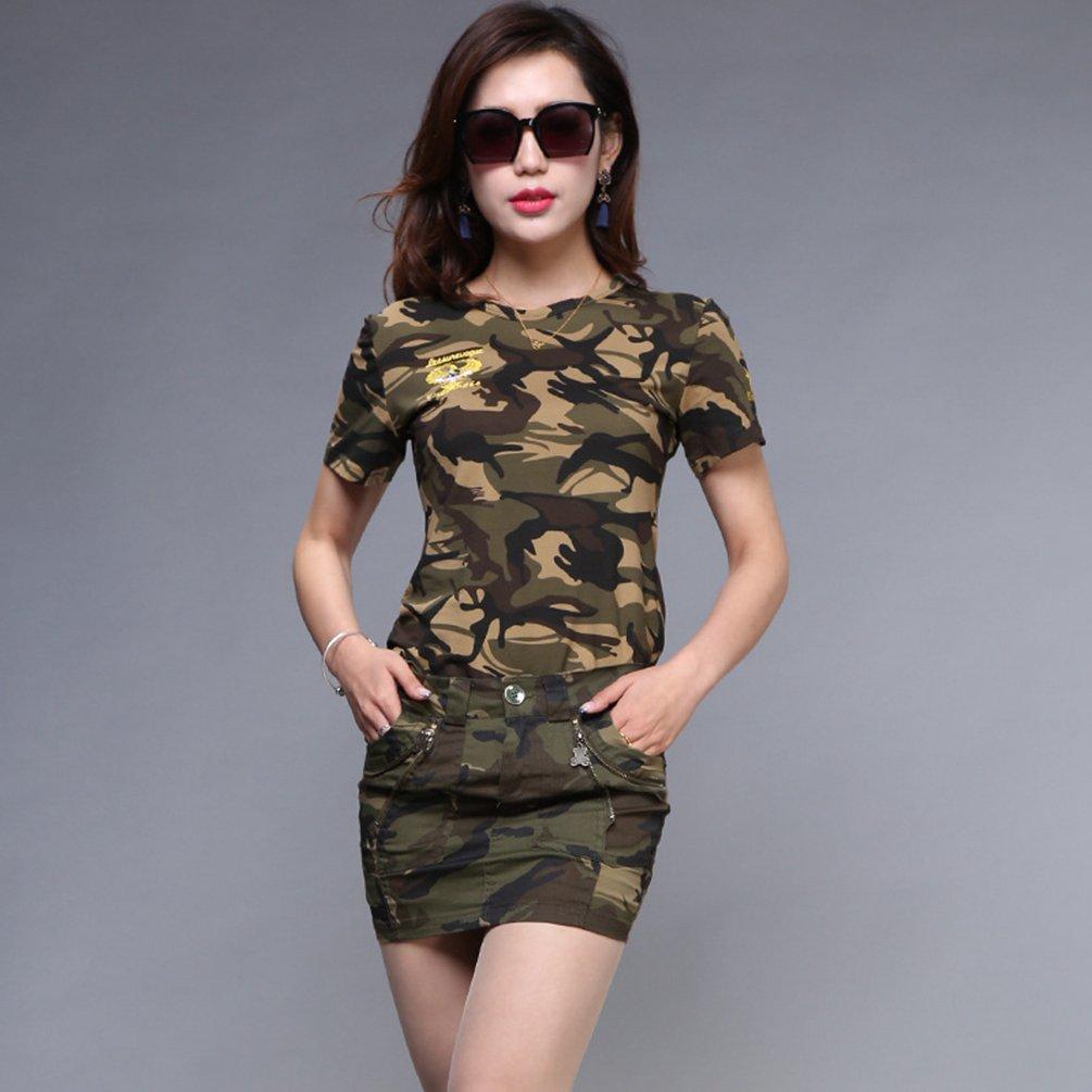 f7fe68c76 SunWanyi Mujeres Militar Falda Combate Camuflaje Cargo Falda Cortos ...