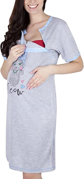 Mija 2 in1 Maternity /& Nursing//Breastfeeding Cotton Nightdress 2060