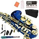 LAGRIMA Blue Alto Saxophone, E Flat Alto Sax Beginners Adult Kit w/Tuner, Case, Mouthpiece, Cleaning Cloth Rod, Glove, Neck Strap