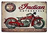 ERLOOD Metal Tin Sign Indian Motorcycle Retro Vintage Decor Metal Tin Sign 12 X 8