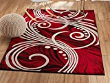 """SUMMIT BY WHITE MOUNTAIN Summit NF-15GZ-7N9Z New Elite ST49 Red White Grey Black Swirls Modern Abstract Area Rug Multi Color Many Sizes Available (4 x 5 Actual Is 3′.8""""x5′) Review"""