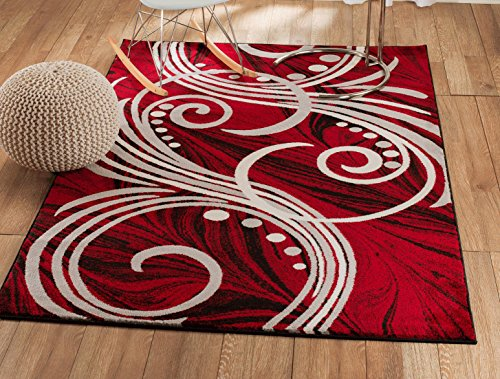 - Summit NF-15GZ-7N9Z New Elite ST49 Red White Grey Black Swirls Modern Abstract Area Rug Multi Color Many Sizes Available  (4 x 5 Actual Is 3'.8''x5')