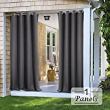 PONY DANCE Outdoor Curtain Drapes   Grey Blackout Solid Heavy Duty Grommet  Top Rust Proof
