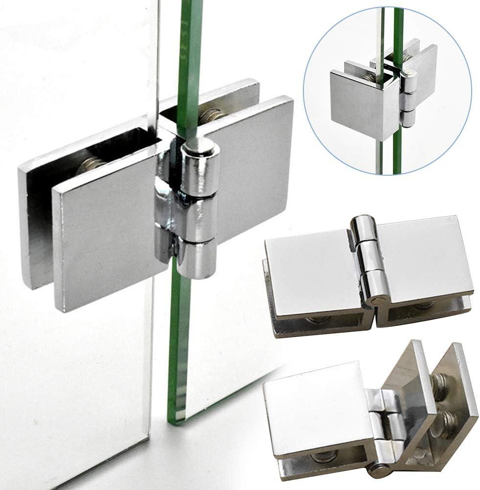 verstellbare rechteckige Doppelklammer Scharniere Ersatz f/ür Glasdicke 5 mm-8 mm 90//180 Grad Glas T/ürklammer Klammer Scharniere Glasscharniere