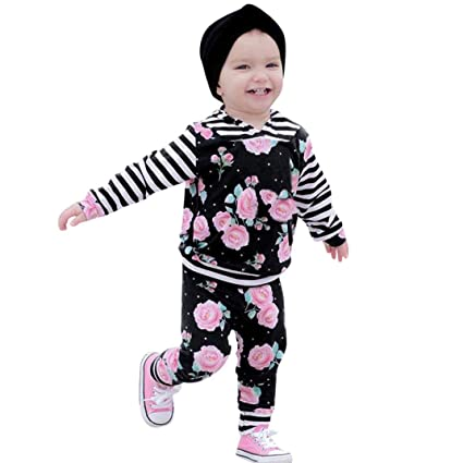 72c0ba1b3315 Newborn Baby Boys Girls Grey Hoodie Sweatshirt Top + Striped Pants Outfits  Set TODDLING Around Clothes