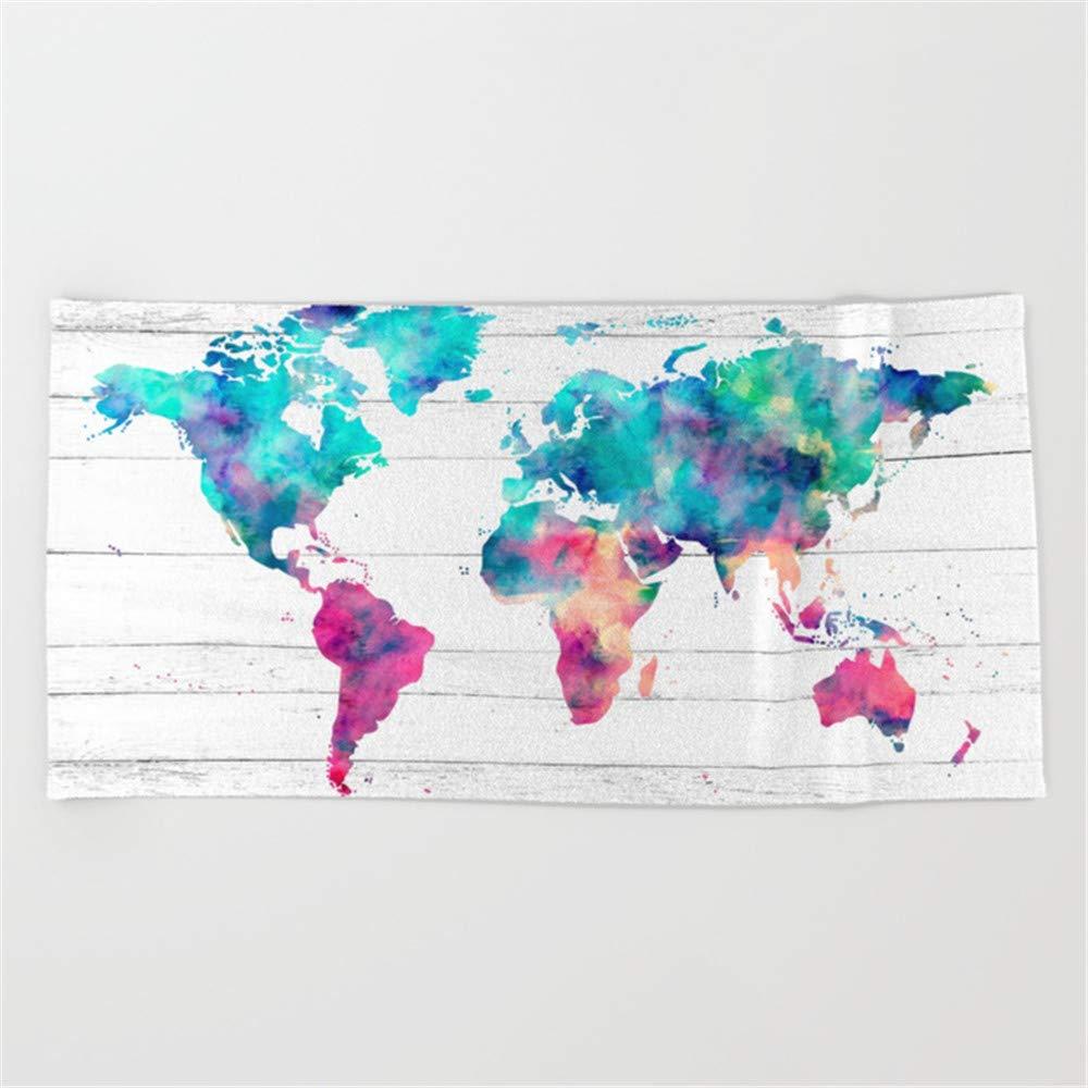 Huisfa World Map Watercolor Paint on White Wood Beach Towel 31.5''x51.2''