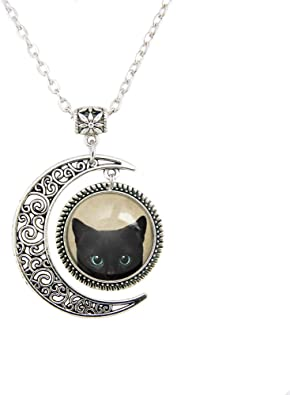 Black cat necklace cute black cat jewelry black cat charm on silver plated chain