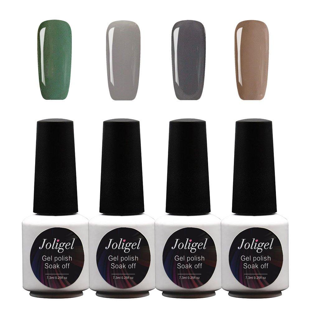 JOLIGEL 4Pcs Gel Nail Polish Set Starter Kit 7.3ml Soak Off for Nail Art Design UV LED Manicure, Semi Permanent Long Lasting Mirror Finish, Non-Toxic Resin, 007 Multi-coloured Spring Series