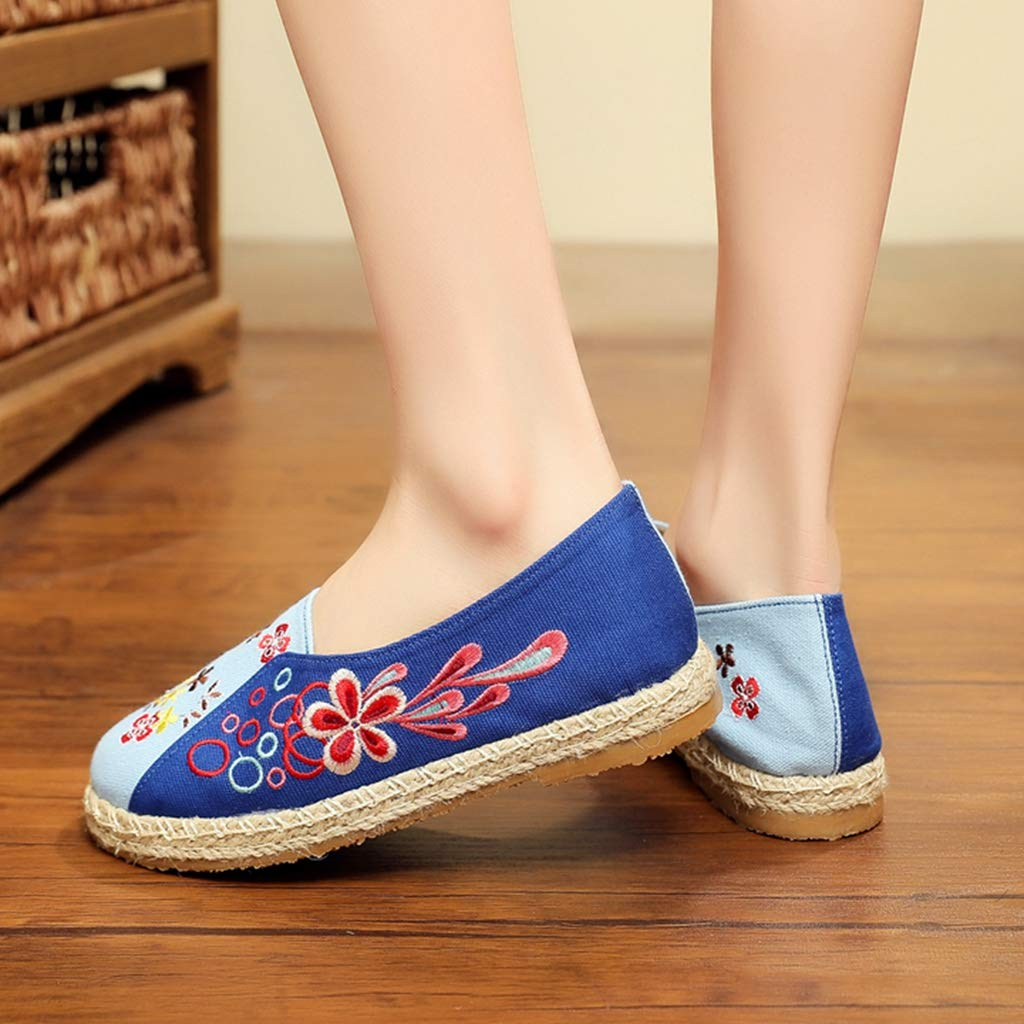 Womens Loafer Embroidered Shoes Chinese Embroidery Canvas Flowers Style Breathable Casual Slip on Flats Loafers